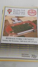 Ryedale-York v Hunslet programme 5.11.89