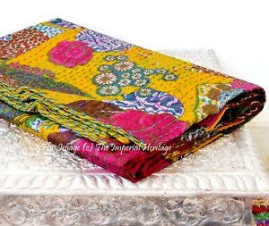 New Indian Art Kantha Quilt Blanket Twin Size Kantha-Handmade Real Cotton Razai