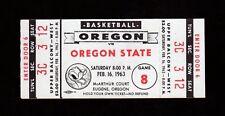 >Orig. 1963 Oregon Ducks vs Oregon State Beavers *FULL/UNUSED BASKETBALL TICKET*