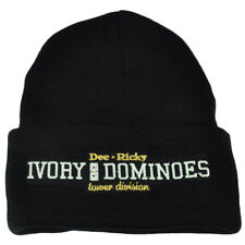 Starter Black Label Knit Beanie Cuffed Ivory Dominoes Dee Ricky Black Toque Hat