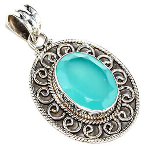 """FACETED AQUA CHALCEDONY GEMSTONE 925 STERLING SILVER JEWELRY PENDANT1.52"""""""