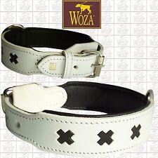WOZA Premium Dog Collar Bulldog Bully Full Leather Padded Cow Napa Handmade B779