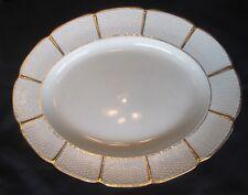 Wedgwood Oval Serving Platter Basket Weave Gold Trim Scallop 11 x 14 WW113