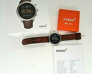 Fossil Q Explorist gen 3 smart watch with leather strap