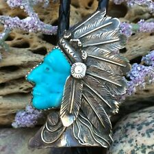 BEST RARE VINTAGE NATIVE AMERICAN NAVAJO STERLING CHIEF TURQUOISE BOLO TIE WOW