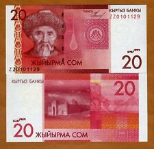 Kyrgyzstan, 20 Som, 2009, P-24r, UNC > ZZ REPLACEMENT