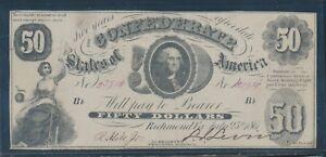 "CSA #T-8 $50 1861 ""WASHINGTON"" NOTE CHOICE VF BU7021"