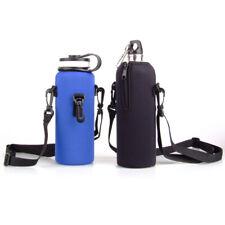 750ML Neoprene Sport Water Bottle Carrier Insulated Cover Bag Holder Strap 110cm