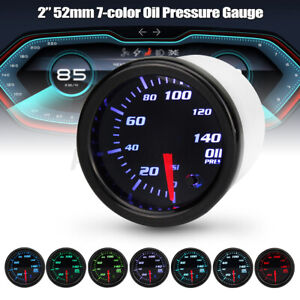 "2"" 52mm 0-140 PSI Oil Pressure Gauge 7 Color LED Display Press Meter with Sensor"