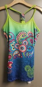 New Disney Parks Mickey Mouse Yoga Tank Top T-Back Paisley Athletic XS