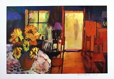 "MARTIN DECENT ""Caf? Morning"" flowers SIGNED LTD EDITION SIZE:42cm x 60cm NEW"