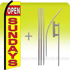 Open Sundays - Swooper Flag Kit Feather Flutter Banner Sign 15' Set - yz
