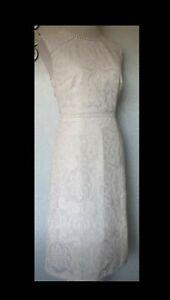 Hobbs Ivory Lace Dress Size 10 .