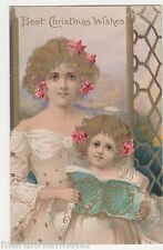 Glamour, Mother & Girl, Tuck 8125 Chromo Christmas Postcard, B520