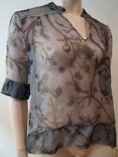 MARNI Grey Black Beige Sheer Silk V Neck Short Sleeve Floral Print Blouse Top 44