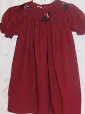 Collection Bebe Girls Size 2 Smocked Dress Labrador Dog Maroon Dark Red Checked