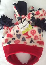 Jumping Beans Boys Hat Mittens Set red /blue. Size 6 18 months New