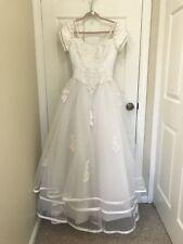 Mary's Bridal Wedding Dress White Size 6 Babydoll Pearl Bow At Back PRINCESS!