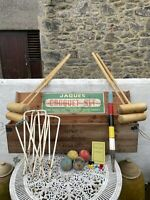 Vintage Jaques Full Size Croquet Set In Wooden Crate