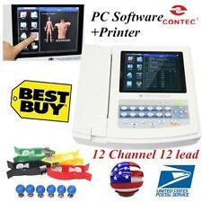 USA Touch Portable ECG/EKG Machine ECG1200G,Printer&Paper,12 Channel 12 Leads
