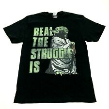 Star Wars Yoda Shirt Size M Medium REAL THE STRUGGLE IS Black Tee Loose Fit Mens