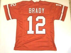 UNSIGNED CUSTOM Sewn Stitched Tom Brady Orange Jersey - M, L, XL, 2XL