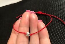 Cord Protection Evil Eye Bracelet Flower Charm Antique Silver Red