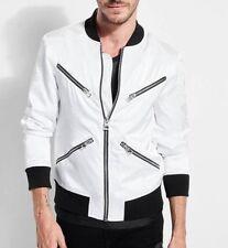GUESS Men's Long Sleeve Satin Dragon Bomber Jacket, Pure White/Multi, L NEW W/T