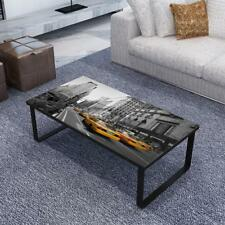 Modern Rectangular Coffee Table Side Table Sofa TableWith Print Picture Glass B1