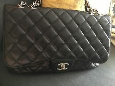 Chanel Classic Black Lambskin Leather Quilted Jumbo Single Flap Bag~STUNNING!