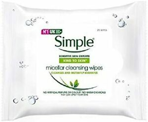 Simple Micellar Face Wipes, Make Up Remover Wipes, 2-Month Supply (6 x 25 Wipes)
