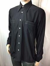 vintage/retro QIANA black/stitched NYLON dress/disco long sleeve shirt . L(   )