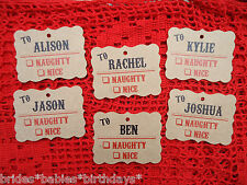 10 Kraft Brown Gift Tags Naughty or Nice Christmas Favour Personalised