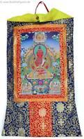 Thangka Amitayus Buddha des langen Lebens Kunstdruck Brokatrahmen 63 x 105 cm