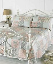 3Pcs Rosie Pink Patchwork Quilted Bedspread Throw Comforter Set Size 240x260 cm