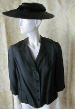 Ladies Vintage Black Suit Jacket Raw Silk Look Designer Style 1950s