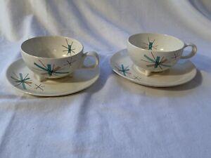 Pair of Salem Hopscotch Hop Scotch Turquoise Cups And Saucers Free Form Freeform