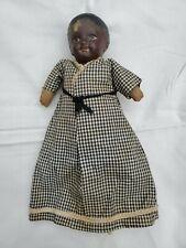 "Antique Black Americana 12"" Doll Sawdust Cloth Paper Mache Composition"