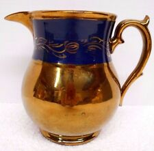 """Antique Copper Luster Pitcher Creamer Blue Band 5  1/2"""" tall"""