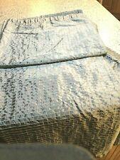 Faux Satin Silver w/ White Raised Squares Fabric Shower Curtain-Euc Nice!