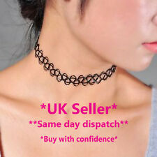 Tattoo Choker Stretch Elastic Necklace New Black Retro Vintage BOHO 80's & 90's