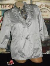 USA L Ruffle Jacket Coat Blazer Silver Gray 3/4 Slv Shimmery NWT & Lg Silk Scarf