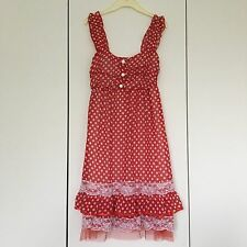 Polka Dot Spot Print Red Dress Minnie Mouse Vintage Fifties Style Lace Handmade