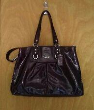 Coach Ashley Patent Leather Carry Tote Shoulder Bag Hobo Handbag Eggplant PLUM