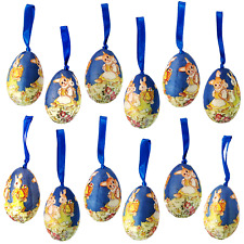 12x Paper Mache Eggs Easter Decoration Ornament Blue Bunny  _182-033BB