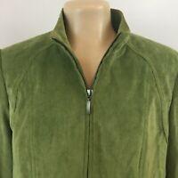 Tribal Full Zip Velvet Jacket Blazer Lined Stretch Green Womens Size 10