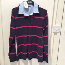 M&S LADIES RUGBY STYLE JUMPER SWEATSHIRT  MARKS SPENCER SIZE BLUE STRIPES NEW 10