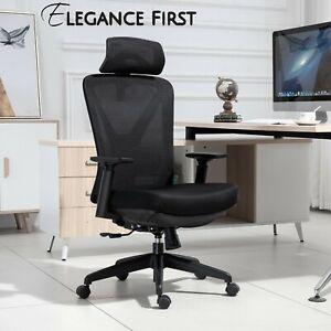 Ergonomic Office Chair Black Mesh High Back Headrest Telescopic Footrest
