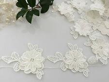 10 pcs Flower Lace  10x 7.5cm  off white