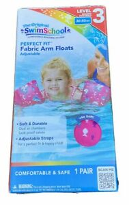 Level 3  NEW Swim School Perfect Fit Fabric Arm Floats 30 - 50 pounds PINK color